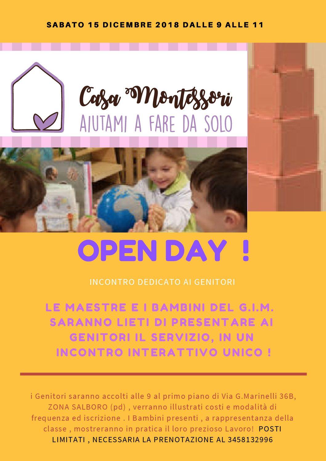 OPEN DAY GIARDINO INFANZIA MONTESSORI A.S.2019/2020
